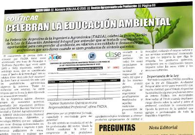 Educación ambiental integral en Argentina, FADIA pide mayor presencia de profesionales agronómicos en el proceso de educación.