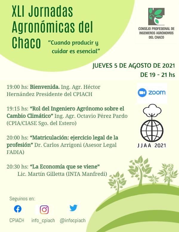 XLI Jornadas Agronómicas del Chaco, Agosto 2021