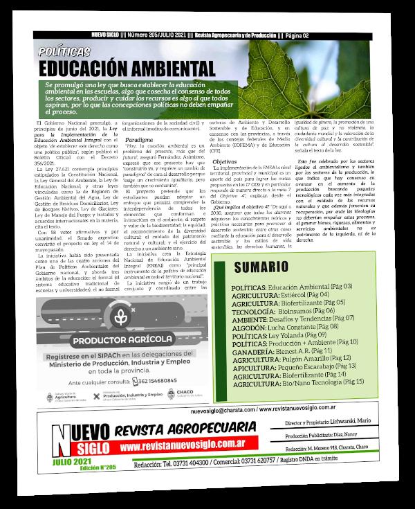 Ley de Educación Ambiental, implementación y carga ideológica, en la página dos de la Revista Agropecuaria Nuevo Siglo del mes de Julio 2021.