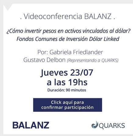 Quarks Inversiones, videoconferencia sobre como invertir pesos en activos vinculados al dólar.