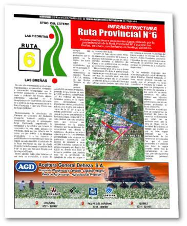 Piden la pavimentación de la ruta provincial 6 que une Las Breñas con Sachayoj
