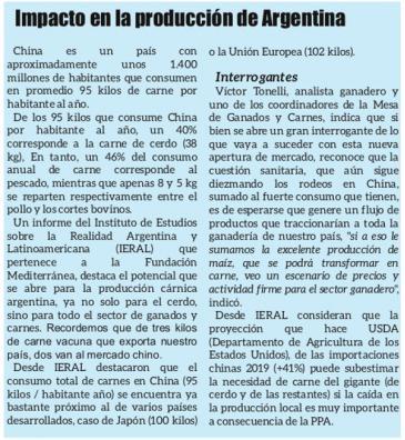 Impacto de la demanda China de carne de Cerdo en la producción de Argentina