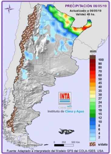 Pronósticos de lluvias intensas para el Norte Argentino para el 8 de Mayo, según el INTA
